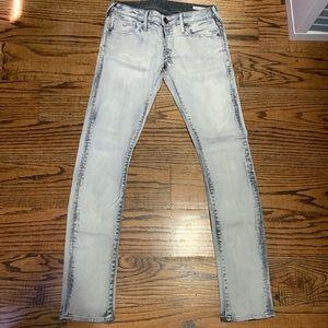 True Religion skinny/straight leg acid wash jeans